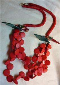 Vintage Tropical PARROT NECKLACE Hot Pink Wood Beads HUGE Statement