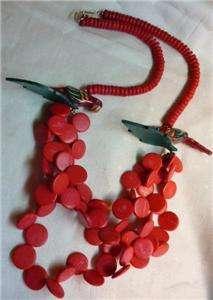 Vintage Tropical PARROT NECKLACE Hot Pink Wood Beads HUGE Statement