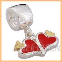 2pcs hearts EUDORA screw silver bead fit charm bracelet S664