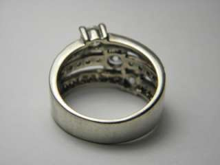 STERLING SILVER 925 PJM ESTATE JEWELRY WIDE CZ BAND RING