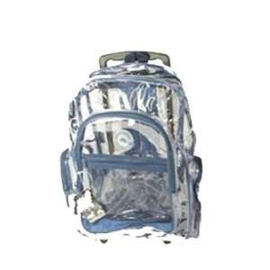 Blue Clear Rolling Backpack on Wheels 18 Sports