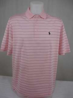 Mens Polo Shirt Pima Cotton Striped Brown Cream Pink Pony Logo