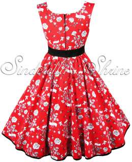 Hell Bunny Red ~EViTa~ Love Bird 50s Rock & Roll Prom Party Dress XS