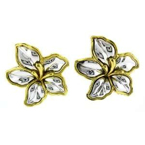 Silver and Gold Tone Austrilia,hort Flower Clip on Earrings Jewelry