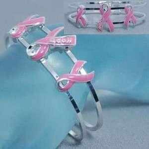 Breast Cancer ~ Triple Pink Ribbon Bangle Bracelet ~ HOPE