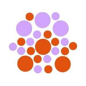Set of 30   Orange / Lilac Circles Polka Dots Vinyl Wall