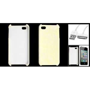 Gino Pale Yellow Flower Design Case + USB Cable for iPhone