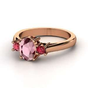 Ashley Ring, Oval Rhodolite Garnet 14K Rose Gold Ring with