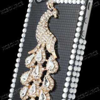 Peacock 3D glitter Bling Hard Case Cover For iPhone 4 4G 4S PC93