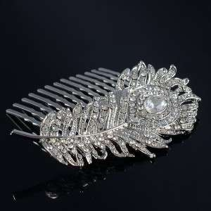 Bridal Headpiece Peacock Feather Hair Comb Wedding W/ Clear Swarovski
