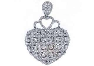 Diamond Heart Pendant Brilliant Round Cut Micro Pave White Gold