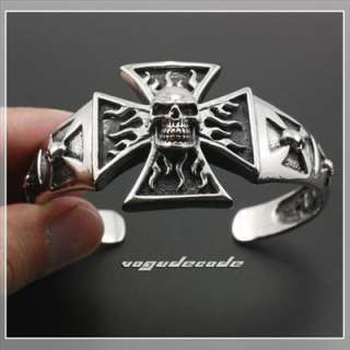 Big Flame Skull 316L Stainless Steel Men`s Biker Bangle Bracelet 5J007