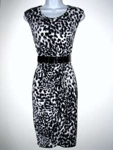 NWT CALVIN KLEIN CK Black/White Animal Print Belted Dress, Size 4