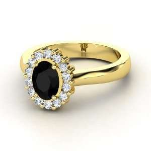 Princess Kate Ring, Oval Black Onyx 14K Yellow Gold Ring