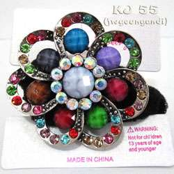 Flower Rhinestone Marble Ponytail Holder Color Hair Band P11