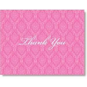 Preppy Dark Pink Damask Thank You Cards