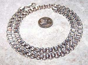 SLINKY STERLING SILVER BOOK CHAIN NECKLACE 7mm X 18.25 28 grams