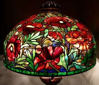 Reproduction Stained Glass Lamp Shade 26 RED Oriental Poppy Odyssey