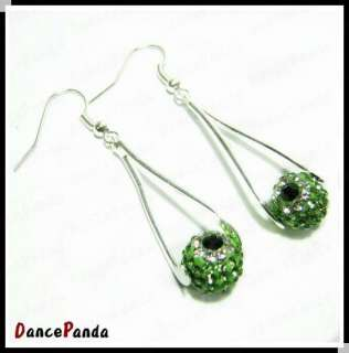 Swarovski Crystal Bead Earring Micro Pave Disco Ball Bead Dangle