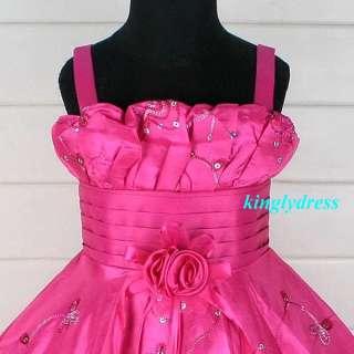 NEW Flower Girl Pageant Wedding Bridesmaid Princess Dress Fuchsia Set