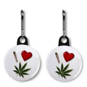 I HEART WEED Marijuana Pot Leaf Pair of 1 inch Zipper Pull