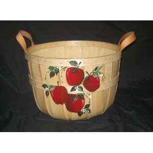 Half Bushel Basket Hand Painted with Apples Everything