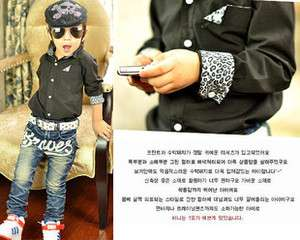 Fashionable Black Cotton Shirt W/ Leopard Print Collar & Cuffs NWT