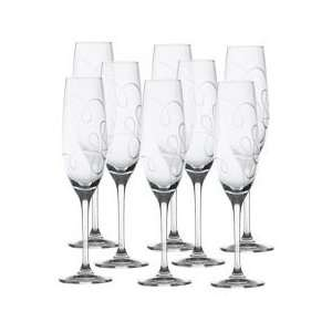 Mikasa Love Story Crystal Champagne Flutes, Set of 8