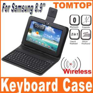 Bluetooth Keyboard + Leather Case Stand for Samsung Galaxy Tab 8.9
