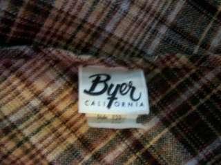 Vtg BYER of CA Brown Plaid Wool Blend SHAWL SCARF WRAP