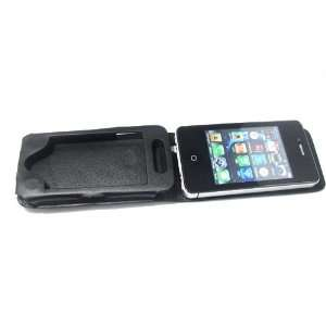 Black Real Leather Pouch Case Bag for Iphone 4  black