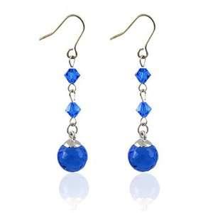 Blue Austrian Crystal Ball Earrings