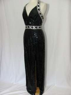 250 SEQUIN black silver COCKTAIL EVENING PARTY MAXI trophy drag queen