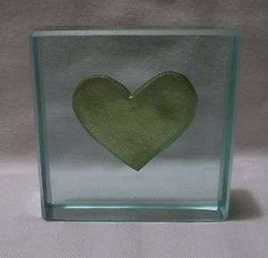 Heart Glass Paperweight Signed