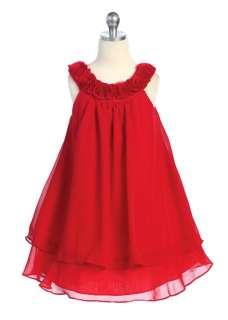 Red Chiffon Birthday, wedding, flower girl dress