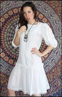 Vtg 70s 80s SAILOR GIRL GUNNE SAX DRESS Lace Hippie Drop Waist Prairie