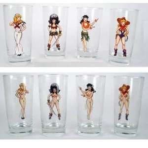 Sexy Pinup Girl Nudie Cuties Drinking Glasses, Set of 4
