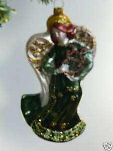 IRISH Celtic Angel with harp GLASS ORNAMENT *NEW*