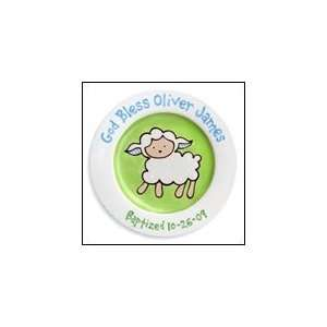 Loveable Lamb Personalized Baptism Plate (Boy): Baby