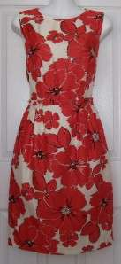 NWT NEW DIRECTION CREAM/CORAL FLORAL PRINT SHEATH DRESS SIZE 6 $86