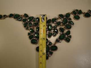 Lucite Plastic & Rhinestone Bead & Gold Tone Drop Bib Necklace