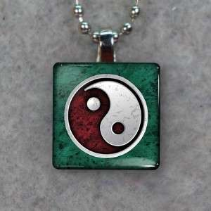 Yin Yang New Age Small Glass Tile Necklace Pendant 865
