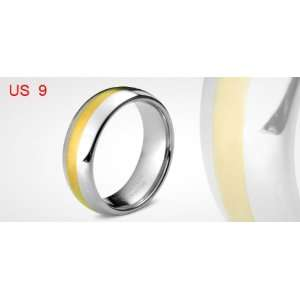 Glossy Gold Silver Tone Tungsten Carbide Finger Ring Jewelry