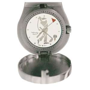 Clip on Bag Golf Watch (White/Black Leather Strap) Sports