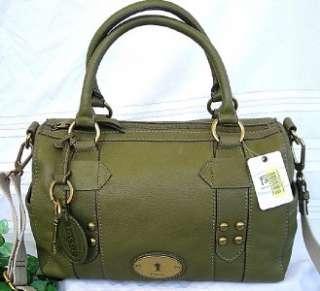 NWT FOSSIL GRAYSON Olive Green LEATHER SATCHEL Shoulder Bag Crossbody