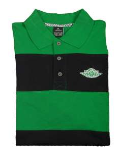 Nike Air Jordan Mens Rugby Polo Shirt Green Black
