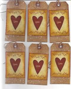 LOVE~12 Tags~Primitive~Grungy~Hang Tags~Valentine~prim
