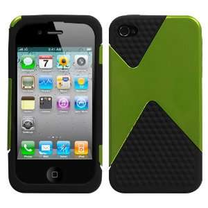 Dual Protector Cover Case Lime Green and Black Diamond Veins For Apple
