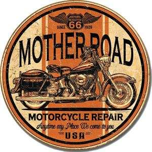 Tin Sign Round 11 3/4 Mother Road Motorcycle Repair Anytime Metal Sign