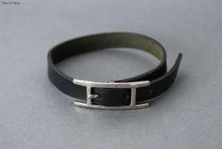 Authentic HERMES HAPI Silvertone x Black Leather Bracelet